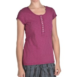 True Grit Slub Cotton T-Shirt - Short Sleeve (For Women) in Plum W/Rhinestone