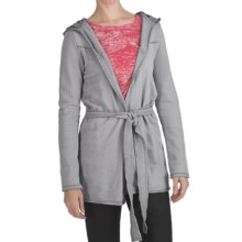True Grit Slub Fleece Hooded Jacket - Tie Front (For Women) in Chambray - Closeouts