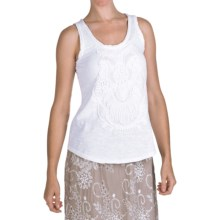 True Grit Slub Knit Cotton Tank Top - Embroidered (For Women) in White - Closeouts