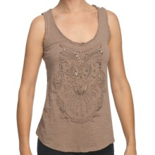 True Grit Slub Knit Cotton Tank Top - Rhinestones and Embroidery (For Women) in Light Malt - Closeouts