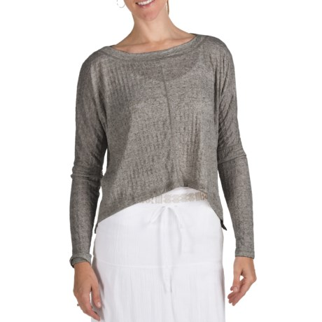 True Grit Slub Pucker Crop Shirt - Long Sleeve (For Women) in Charcoal