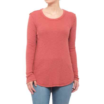 True Grit Slub Waffle Cotton Thermal Shirt - Crew Neck, Long Sleeve (For Women) in Brick - Closeouts