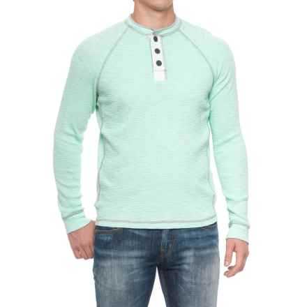 True Grit Slub Waffle Henley Shirt - Long Sleeve (For Men) in Vintage Aqua - Closeouts