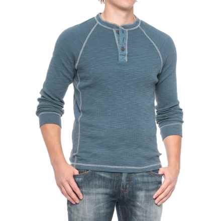 True Grit Slub Waffle Henley Shirt - Long Sleeve (For Men) in Vintage Indigo - Closeouts