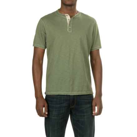 True Grit Soft Slub Henley Shirt - Short Sleeve (For Men) in Army - Closeouts
