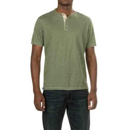 True Grit Soft Slub Henley Shirt - Short Sleeve (For Men) in Army - Closeouts