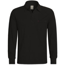 True Grit Soft Slub Jersey Polo Shirt - Long Sleeve (For Men) in Black - Closeouts
