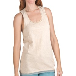 True Grit Soft Slub Tank Top - Chiffon Trim (For Women) in Light Natural