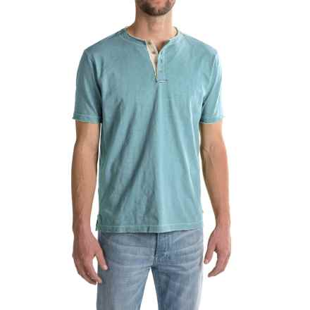 True Grit Soft Slub Vintage Henley Shirt - Short Sleeve (For Men) in Soft Blue - Closeouts
