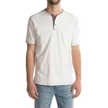 True Grit Soft Slub Vintage Henley Shirt - Short Sleeve (For Men) in White - Closeouts