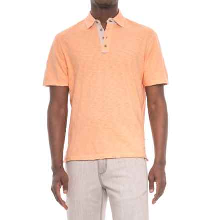 True Grit Soft Slub Vintage Polo Shirt - Short Sleeve (For Men) in Mango - Closeouts