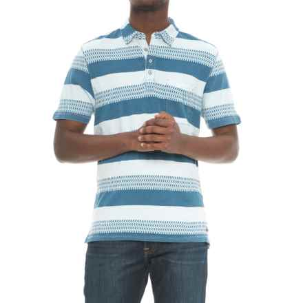 True Grit Stacked Stripe Polo Shirt - Short Sleeve (For Men) in Indigo - Closeouts