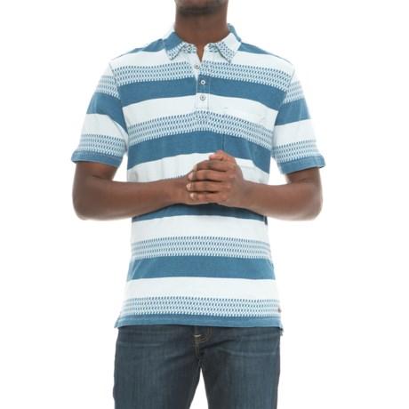 True Grit Stacked Stripe Polo Shirt - Short Sleeve (For Men) in Indigo