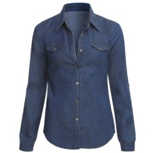 True Grit Stretch Dark Denim Shirt - Long Roll Sleeve (For Women) in Dark Denim - Closeouts