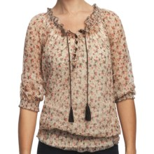 True Grit Studded Chiffon Peasant Shirt - 3/4 Sleeve (For Women) in Chiffon - Closeouts