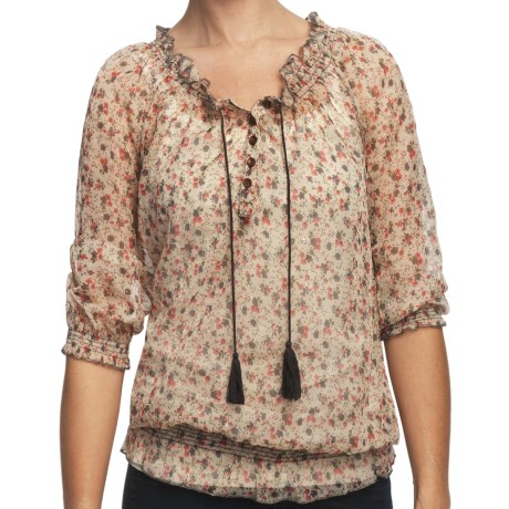 True Grit Studded Chiffon Peasant Shirt - 3/4 Sleeve (For Women) in Chiffon