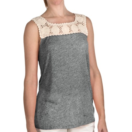 True Grit Sublime Slub Crochet T-Shirt - Sleeveless (For Women) in Black