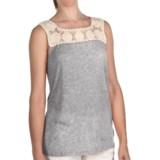 True Grit Sublime Slub Crochet T-Shirt - Sleeveless (For Women)
