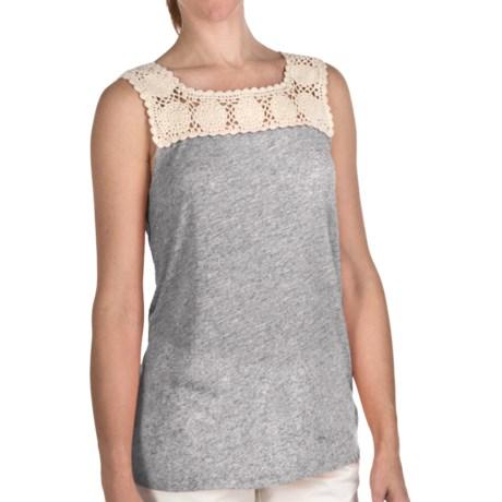 True Grit Sublime Slub Crochet T-Shirt - Sleeveless (For Women) in Heather