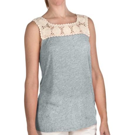 True Grit Sublime Slub Crochet T-Shirt - Sleeveless (For Women) in Light Blue