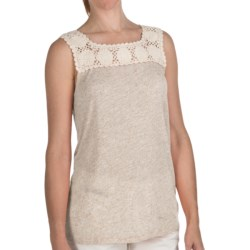 True Grit Sublime Slub Crochet T-Shirt - Sleeveless (For Women) in Heather