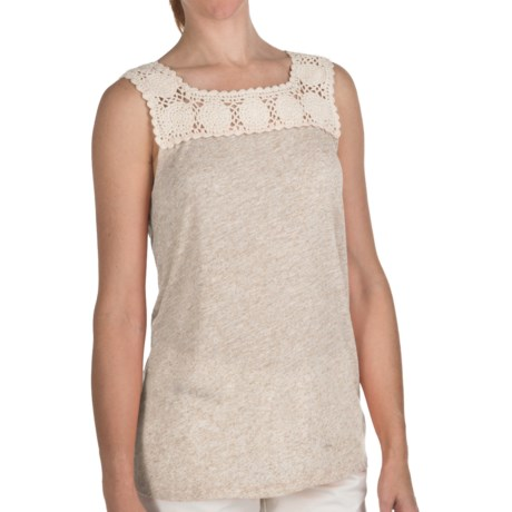 True Grit Sublime Slub Crochet T-Shirt - Sleeveless (For Women) in Tangerine