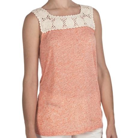 True Grit Sublime Slub Crochet T-Shirt - Sleeveless (For Women) in Tangerine