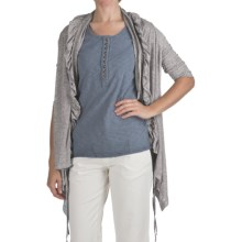 True Grit Sublime Slub Ruffle Cardigan Sweater - Linen-Blend Slub (For Women) in Black - Closeouts