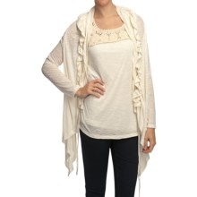 True Grit Sublime Slub Ruffle Cardigan Sweater - Linen-Blend Slub (For Women) in White - Closeouts