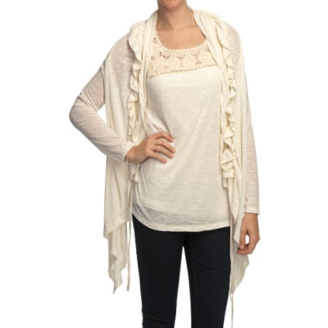 True Grit Sublime Slub Ruffle Cardigan Sweater - Linen-Blend Slub (For Women) in White