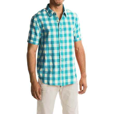 True Grit Sun Deck Checks Shirt - Short Sleeve (For Men) in Aqua - Closeouts
