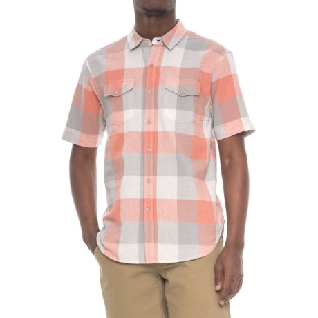 True Grit Sun Decks Checks Shirt - Short Sleeve (For Men) in Coral