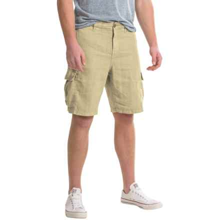 True Grit Sunset Cargo Shorts - Linen (For Men) in Faded Stone - Closeouts