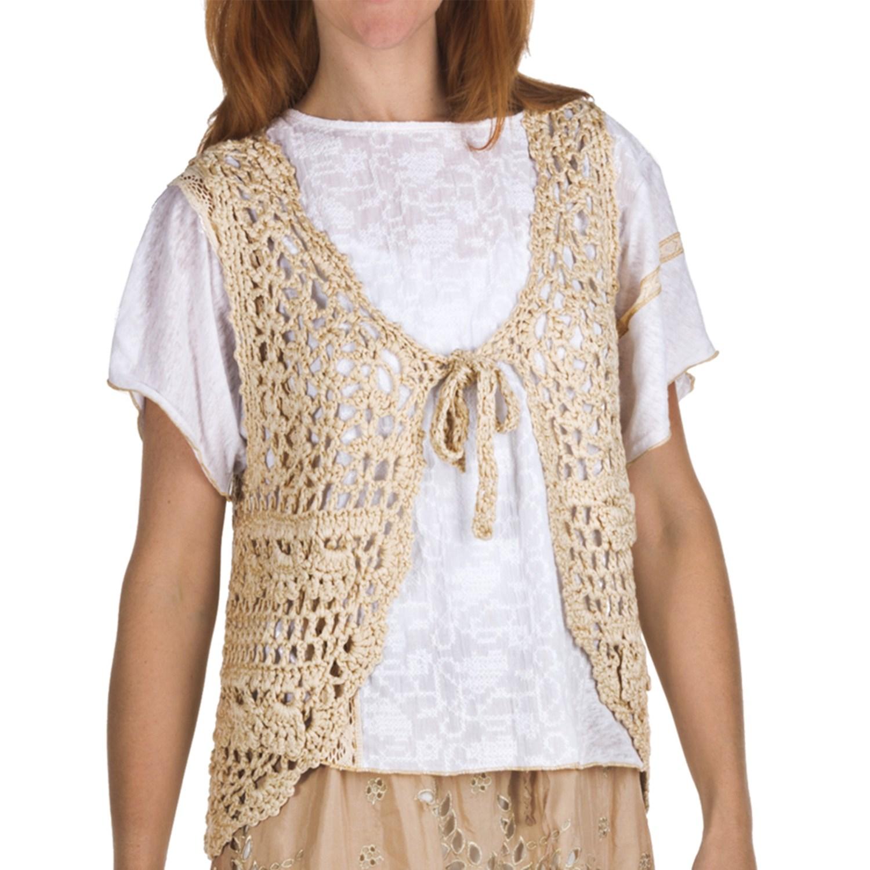 True Grit Vintage Chunky Crochet Vest - Tie Front (For Women) - Save ...