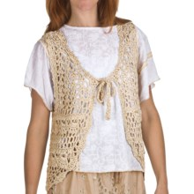 True Grit Vintage Chunky Crochet Vest - Tie Front (For Women) in Natural - Closeouts