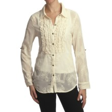 True Grit Vintage Dyed Embroidered Shirt - Ruffle, Long Sleeve (For Women) in Natural - Closeouts