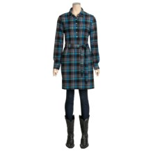 True Grit Vintage Flannel Shirt Dress - Long Sleeve (For Women) in Aqua/Black Plaid - Closeouts