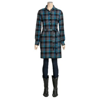 True Grit Vintage Flannel Shirt Dress - Long Sleeve (For Women)