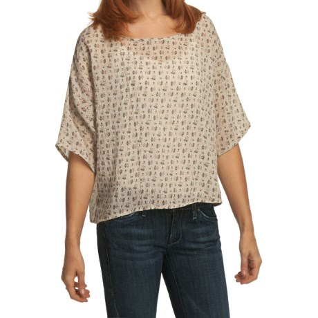 True Grit Vintage Floaty Printed Shirt - Short Sleeve (For Women) in Brown/Orange Dandelion