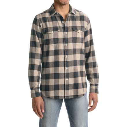 True Grit Vintage Melange Buffalo Check Flannel Shirt - Long Sleeve (For Men) in Khaki - Closeouts