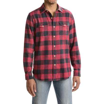 True Grit Vintage Melange Buffalo Check Flannel Shirt - Long Sleeve (For Men) in Red - Closeouts