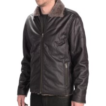 True Grit Vintage Moto Jacket - Faux-Fur Lining, Zip Front (For Men) in Vintage Black - Closeouts