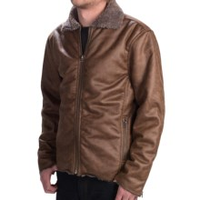 True Grit Vintage Moto Jacket - Faux-Fur Lining, Zip Front (For Men) in Vintage Brown - Closeouts