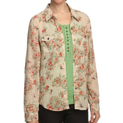 True Grit Vintage Printed Shirt - Long Sleeve (For Women) in Brown/Orange Dandelion