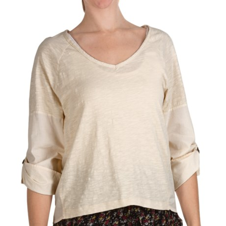 True Grit Vintage Slub Cotton Top - V-Neck, Long Roll Sleeve (For Women) in Vintage Natural