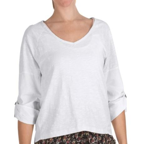 True Grit Vintage Slub Cotton Top - V-Neck, Long Roll Sleeve (For Women) in White