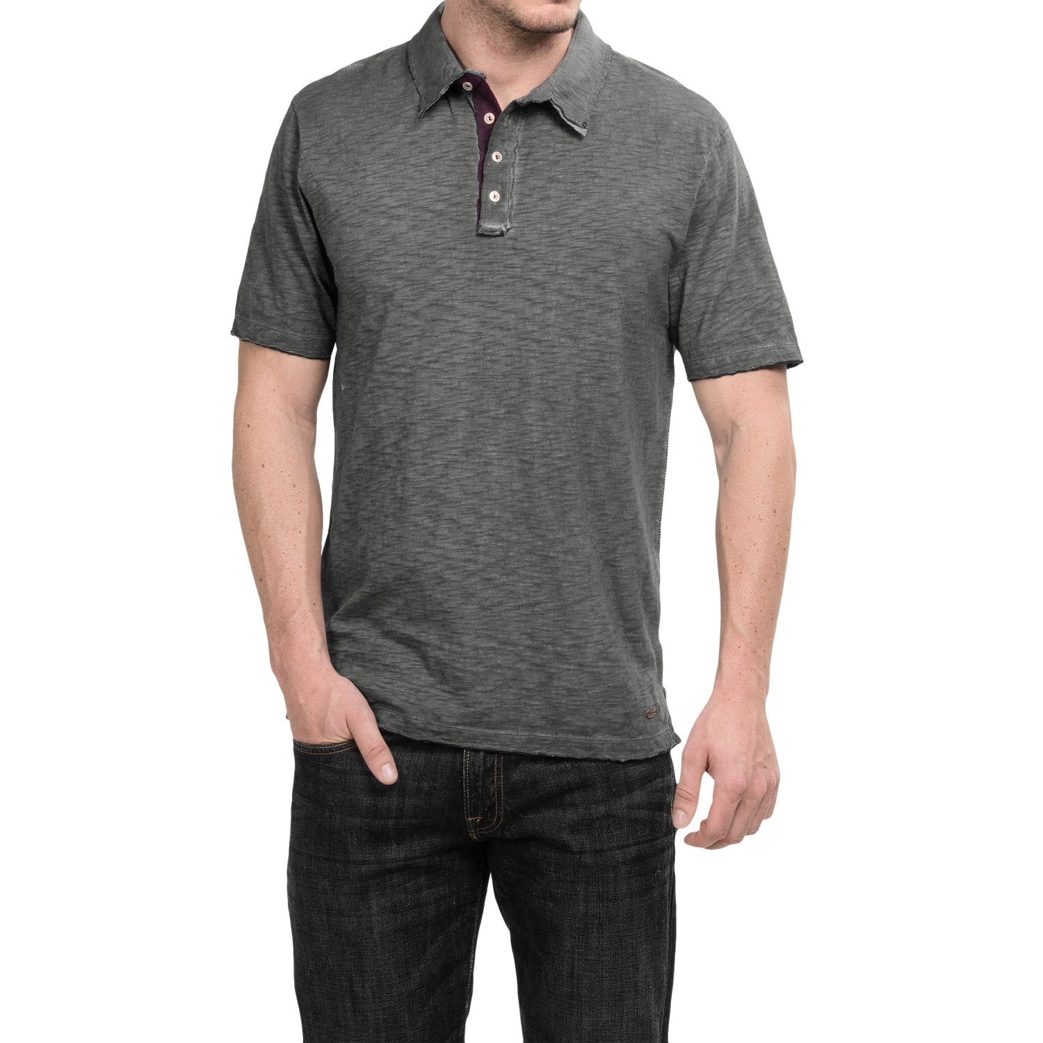 True grit vintage slub knit polo shirt for men save 67 for Knitted polo shirt mens