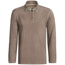 True Grit Vintage Slub Polo Shirt - Long Sleeve (For Men) in Driftwood - Closeouts