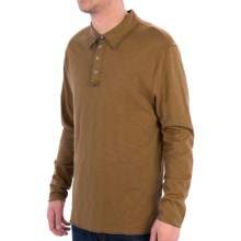 True Grit Vintage Slub Polo Shirt - Long Sleeve (For Men) in Old Gold - Closeouts