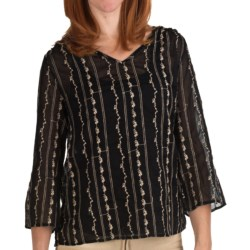 True Grit Vintage Voile Shirt - 3/4 Sleeve (For Women) in Black